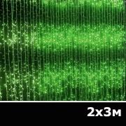 LED занавес водопад 2x3м зеленый