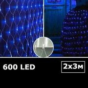 LED сетка с одинарными светодиодами 2х3м синий с контроллером