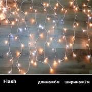 LED занавес 2x6м теплый белый Flash